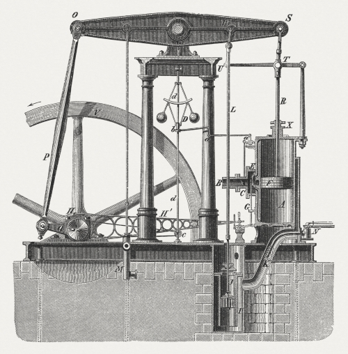 """Steam engine by James Watt, newer construction (first half of 19th century). Woodcut engraving from the book """"Das Buch der Erfindungen, Gewerbe und Industrien, 2. Band (The book of inventions, commerce and industries, Volume 2)"""", published by Otto Spamer, Berlin and Leipzig (1877)"""