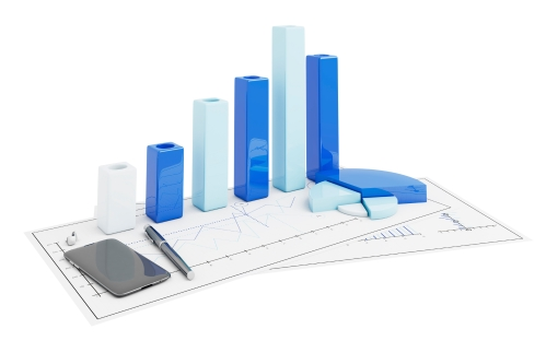 3d positive bar Graphs of financial analysis with telephone and cufflinks